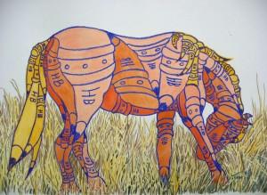 """""""HB Pencil Horse""""  crayon & watercolour, 14""""x22"""", 2006"""