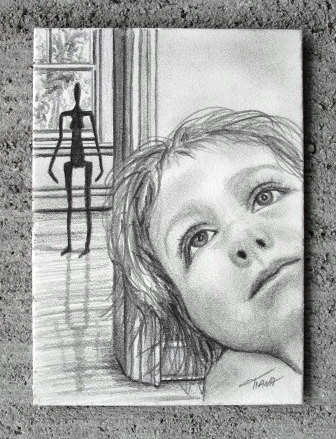 """Around The Corner""  2.5"" x 3.5"", pencil, 2008."