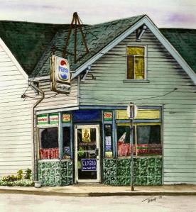 """""""Laura's Coffee Shop"""", watercolour and ink, 8"""" x 10"""", fall 2008."""