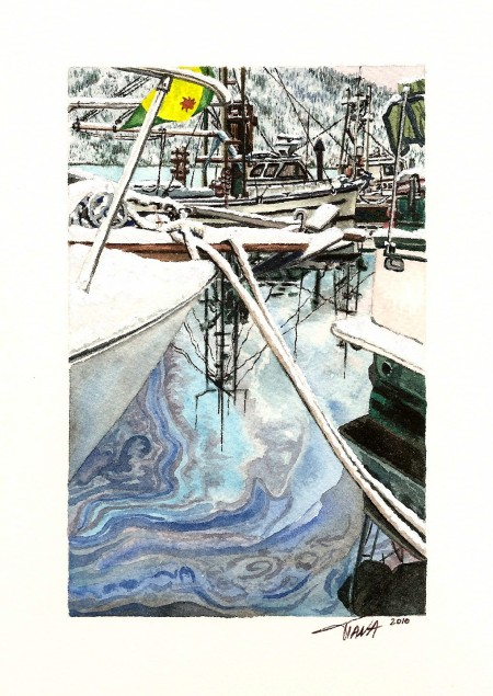 """""""Oil and Snow"""", watercolour, 8"""" x 10"""", fall 2010."""