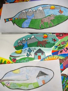 The drawings on paper are by students at James Whiteside Elementary. The painted copies are by Tiana