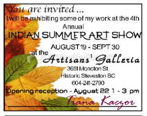 Invite to Artisans Galleria Summer Show in Steveston