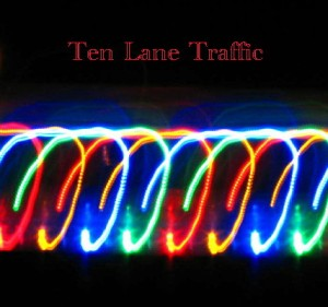 "Album art by Tiana Kaczor for ""Ten Lane Traffic"""