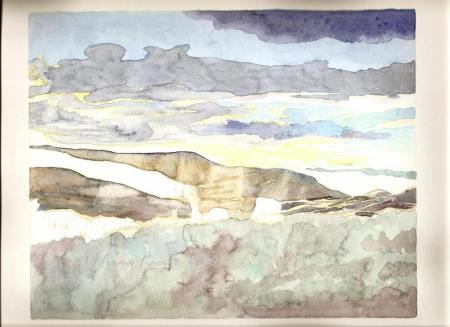 Watercolour in process of Light on Mountain