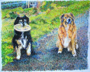 """Riley and CJ"" by Tiana Kaczor, Fall 2012, pastel and conte."