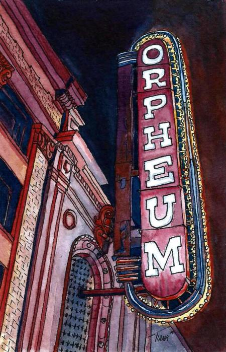 Orpheum Neon sign watercolour and ink miniature by Tiana