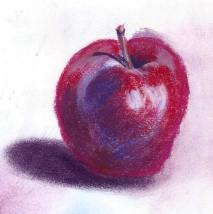 Soft, or chalk pastel was used on this apple and is much easier to blend than oil pastel.